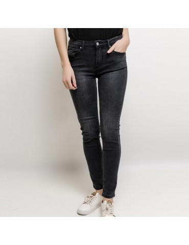 Jeans skinny push up gris f